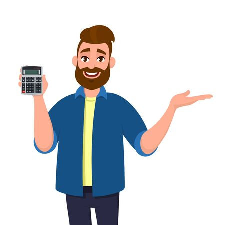 Happy bearded man showing or holding digital calculator device in hand and pointing, presenting something to copy space. Modern lifestyle, technology, business and finance, banking concept in cartoon.
