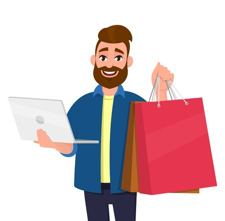 Portrait of young man showing shopping bags. Person holding a laptop computer in hand. Male character illustration. Modern lifestyle, digital technology, new purchase, latest trend in cartoon.