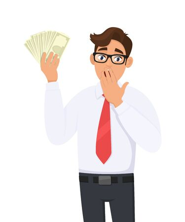 Shocked businessman showing cash, money and covering mouth with hand. Person holding currency notes. Male character design illustration. Human emotions and expressions concept in vector cartoon style.
