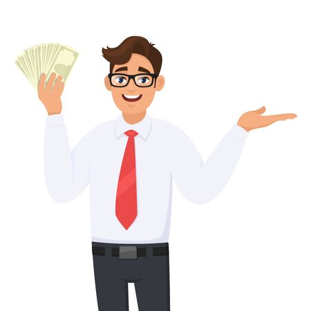 Young businessman showing cash, money and presenting hand to copy space. Person pointing finger side away. Male character design illustration. Business and financial, lifestyle in vector cartoon.