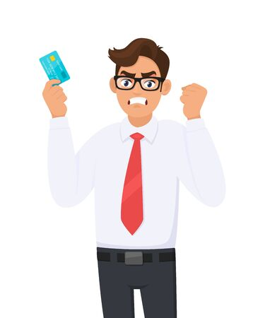 Angry young businessman showing credit, debit, ATM card and raising hand fist. Person holding digital payment card. Male character design illustration. Modern lifestyle concept in cartoon style.