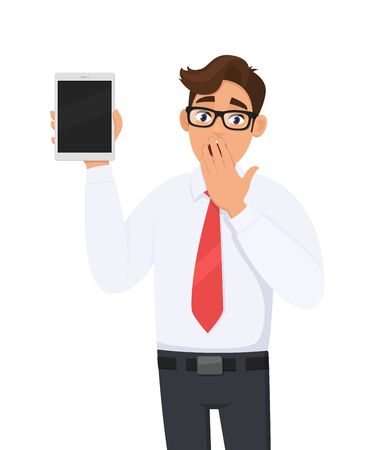 Shocked businessman showing new tablet computer and covering his mouth with hand palm. Person holding digital tab. Male character illustration. Modern technology concept in vector cartoon style.