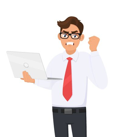 Angry young businessman holding laptop computer and making raised hand fist gesture. Frustrated person shouting or screaming. Modern lifestyle, digital technology illustration in vector cartoon.