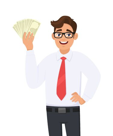 Young businessman showing cash, money in hand. Person holding currency notes and posing hand on hip. Male character design illustration. Business and financial, lifestyle concept in vector cartoon. Standard-Bild - 134597315