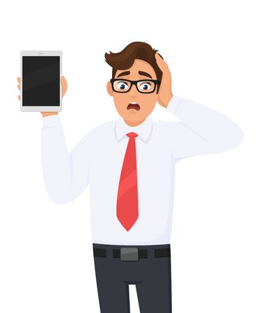 Shocked businessman showing new tablet computer and holding head with hand. Stressed person holding digital tab. Male character illustration. Modern technology, lifestyle concept in vector cartoon.