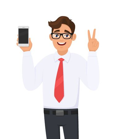 Business man showing new brand, latest smartphone. Man holding cell, mobile phone in hand and gesturing/making victory, V, peace or two sign. Modern lifestyle, digital technology device & gadget.