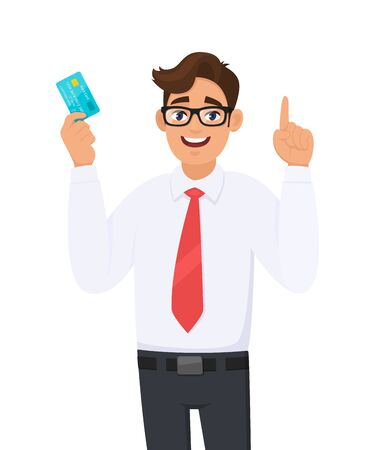 Young businessman holding or showing a credit (Debit, ATM) card and making or pointing up gesture sign with hand finger. Male character design illustration. Modern lifestyle concept in vector cartoon.