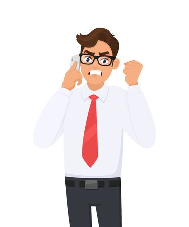 Angry young business man in formal speaking/talking on the mobile, cell or smart phone. Male character gesturing or making raised hand fist. Modern lifestyle, digital technology in cartoon style. Vectores