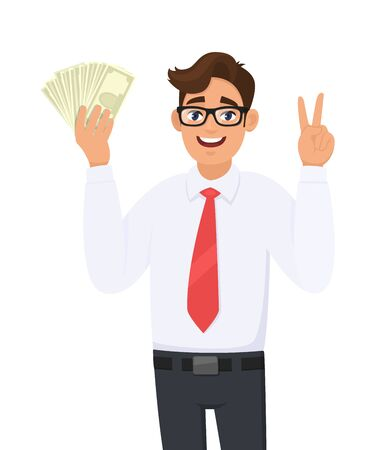 Young businessman showing cash, money and making victory, V, peace or two gesture sign. Person holding currency notes. Male character design illustration. Business and financial in vector cartoon. Standard-Bild - 134597425