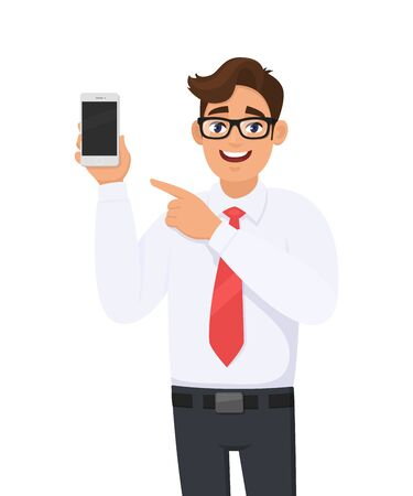 Business man showing a new brand, latest smartphone screen and pointing finger. Young man holding cell, mobile phone in hand. Modern lifestyle, digital technology device and gadget in cartoon style. Vettoriali