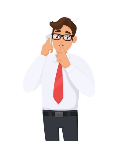 Young business man in formal speakingtalking on the mobile, cell or smart phone and asking silence. Silence Please! Keep Quiet! Male character closing or covering mouth by finger. Modern lifestyle.