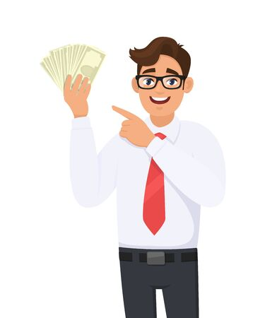 Young businessman showing cash, money and pointing index finger. Person holding currency notes. Male character design illustration. Human emotions and expressions concept in vector cartoon style. Standard-Bild - 134597441