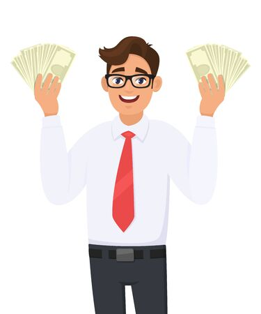 Young businessman showing cash, money in hand. Person holding currency notes. Male character design illustration. Business and financial , modern lifestyle concept in vector cartoon style. Standard-Bild - 134597481