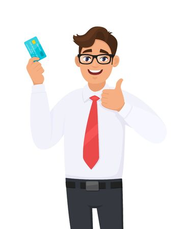 Young businessman showing credit, debit, ATM card and making thumb up gesture sign. Person holding digital payment card. Male character design illustration. Modern lifestyle, concept in cartoon style.