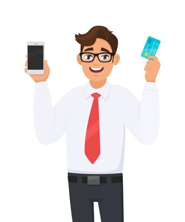 Young businessman showing or holding a new digital smartphone (Mobile, Cell) and debit, credit, ATM bank card in hand. Male character design illustration. Modern lifestyle concept in vector cartoon. Standard-Bild - 134597483