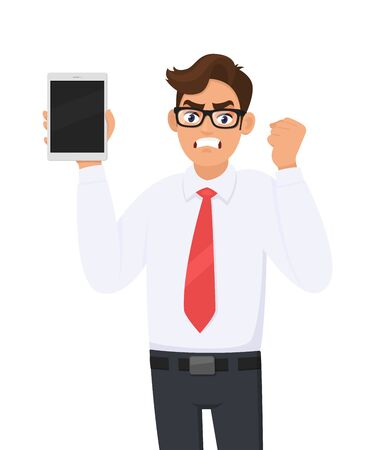 Angry businessman showing new tablet computer and making or gesturing raised fist. Person holding a digital tab. Male character illustration. Modern technology concept in vector cartoon style.