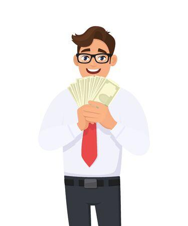 Jeune homme d'affaires montrant de l'argent, de l'argent en main. Personne détenant des billets de banque. Illustration de conception de personnage masculin. Concept de mode de vie commercial et financier, moderne dans un style de dessin animé vectoriel. Vecteurs