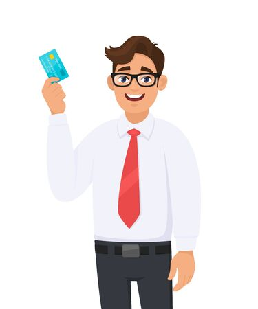 Young businessman in formal wear with red colour tie holding or showing a credit (Debit, ATM) card. Male character design illustration. Modern lifestyle concept in vector cartoon style. Standard-Bild - 134597491