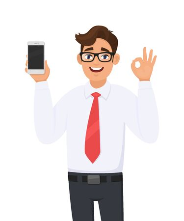 Business man showing new brand, latest smartphone. Man holding cell, mobile phone and gesturing/making okay, OK sign with hand fingers. Modern lifestyle, digital technology device gadget in cartoon.