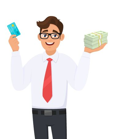 Happy young businessman showing credit, debit, ATM card. Person holding bunch of cash, money, currency notes in hand. Male character design illustration. Modern lifestyle concept in vector cartoon. Standard-Bild - 134597279