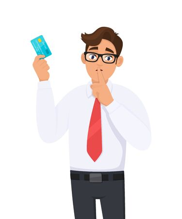 Young businessman showing credit, debit, ATM card and asking silence please. Keep quiet. Shut up. Person holding digital payment card. Male character design illustration. Modern lifestyle concept. Ilustração