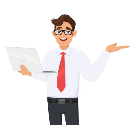 Happy young business man holding new brand laptop and presenting hand gesture to copy space. Person using latest computer and pointing to side. Male introducing something. Vector cartoon illustration. Ilustração Vetorial