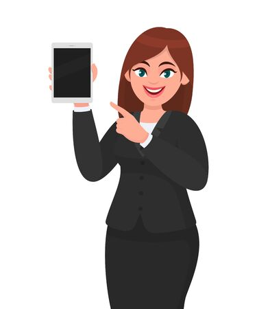 Young business woman showing or holding a blank screen digital tablet computer and pointing index finger. Female character design illustration. Modern lifestyle, technology gadget concept in cartoon. Ilustração