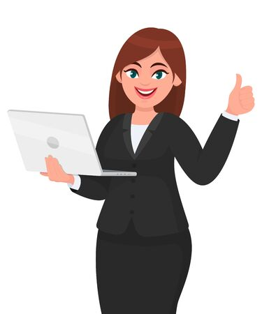 Young businesswoman holding a new digital laptop computer and showing thumb up gesture sign. Female character design illustration. Modern lifestyle, gadget, technology concept in vector cartoon style.