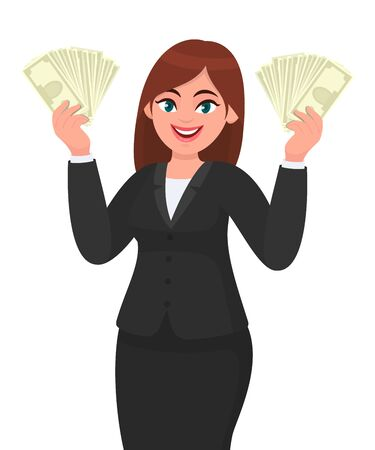 Successful young business woman showing/holding cash, money, dollar, currency or banknotes in hands. Modern lifestyle, business and finance concept illustration in vector cartoon style. Standard-Bild - 134597293