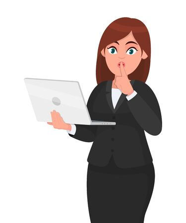 Young businesswoman holding a new digital laptop computer and asking to make silence. Keep quiet. Sh! Female character design illustration. Woman finger with on lips concept in vector cartoon style. Vektoros illusztráció