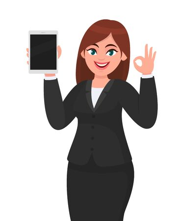 Happy young business woman showing or holding a brand new digital tablet computer and making or gesturing okay, OK sign. Female character design illustration. Modern lifestyle, technology concept. Vectores