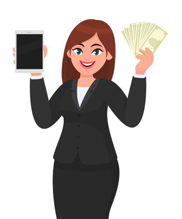 Young businesswoman showing a new digital tablet computer. Person holding cash, money, currency notes in hand. Female character design illustration. Modern lifestyle concept in vector cartoon style. Standard-Bild - 134597601