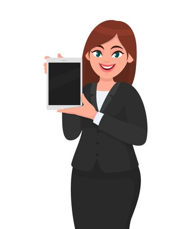 Happy young business woman showing or holding a brand new digital tablet computer in hand. Female character design illustration. Modern lifestyle, technology gadget concept in vector cartoon style.