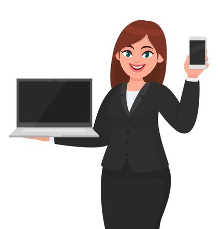 Young businesswoman showing a new brand laptop and latest mobile phone/smartphone. Person holding portable devices. Female character design illustration. Technology gadget concept in vector cartoon.
