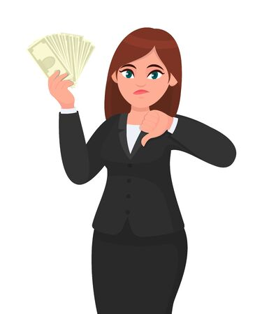 Unhappy business woman showing/holding bunch of money, cash, dollar, currency, banknotes in hand and gesturing, making thumbs down sign. Bad, no, negative, dislike, disagree concept in cartoon style. Standard-Bild - 134458110
