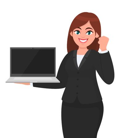 Young businesswoman holding a new brand laptop and showing raised hand fist gesture. Person making success sign. Female character design illustration. Technology gadget concept in vector cartoon.