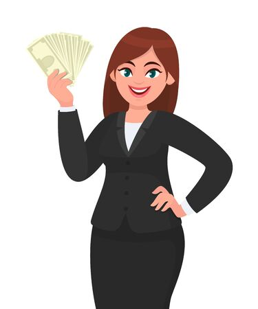 Mujer de negocios joven feliz mostrando / sosteniendo efectivo, dinero, dólar, moneda o billetes y sosteniendo la mano en la cadera. Ilustración de concepto moderno de estilo de vida, negocios y finanzas en estilo de dibujos animados de vector.