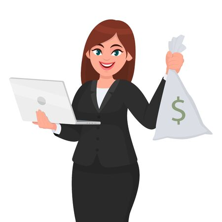 Young businesswoman holding a new digital laptop computer and cash, money, currency notes bag in hand. Female character design illustration. Modern lifestyle, gadget, technology concept in vector. Standard-Bild - 134458123