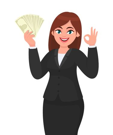 Happy businesswoman showing, holding bunch of money, cash, dollar, currency, banknotes in hand and gesturing, making okay, OK sign. Modern lifestyle, business and finance, banking concept in cartoon. Standard-Bild - 134597585