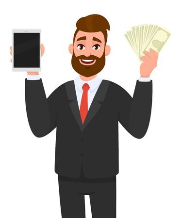 Young businessman showing/holding blank screen digital tablet computer and cash/dollar/money/currency notes in hand. Modern trends, technology, gadget, banking concept illustration in cartoon style. Standard-Bild - 134597219