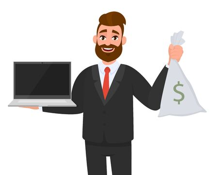 Young business man holding or showing latest brand new digital laptop computer (PC) and cash bag with dollar sign. Male character design illustration. Modern lifestyle, technology concept in cartoon. Standard-Bild - 134597223