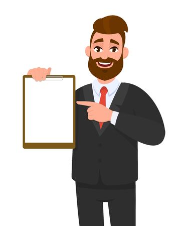 Young businessman showing blank clipboard and pointing index finger. Person holding notepad. Male character design illustration. Human emotions, facial expressions concept in vector cartoon style.