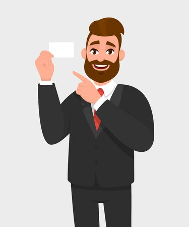 Young businessman is showing blank white card and pointing index finger. Person is holding empty card. Male character design illustration. Human emotions, facial expressions concept in vector cartoon.