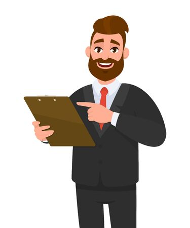 Young business man wearing a suit holding clipboard and pointing finger. Person keeping the file pad in hand. Male character design illustration. Modern lifestyle concept in vector cartoon style. Ilustração