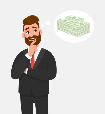 Young businessman thinking and holding finger on face, looking up. Cash, money, currency notes in the thought bubble. Male character design illustration, banking, finance concept in vector cartoon. Standard-Bild - 134458691