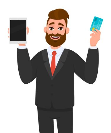 Happy young businessman showing/holding blank screen digital tablet computer and credit/debit, ATM card in hand. Modern trends, technology, gadget concept illustration in vector cartoon style. Standard-Bild - 134458705