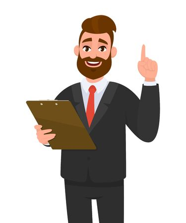 Young business man wearing a suit holding clipboard and pointing index finger up. Person keeping the file pad in hand. Male character design illustration. Modern lifestyle concept in vector cartoon.