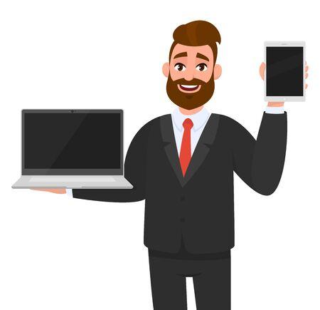 Un homme d'affaires joyeux tenant ou montrant une dernière marque, un ordinateur portable à écran vide (PC) et un onglet, une tablette, un bloc-notes à la main. Mode de vie moderne, appareil de technologie numérique, gadget, application en dessin animé.