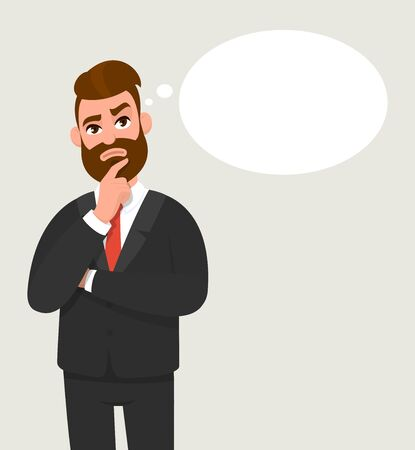 Thoughtful young businessman thinking and holding finger on face. Light bulb in the thought bubble. Male character design illustration. Innovation, new idea, creativity concept in vector cartoon style
