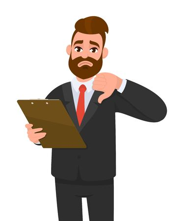 Unhappy young businessman wearing a suit holding clipboard and making or showing thumbs down gesture or sign. Person keeping the file pad in hand. Male character design illustration. Modern lifestyle.